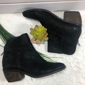 Lucky Brand black suede ankle boots Sz 7M